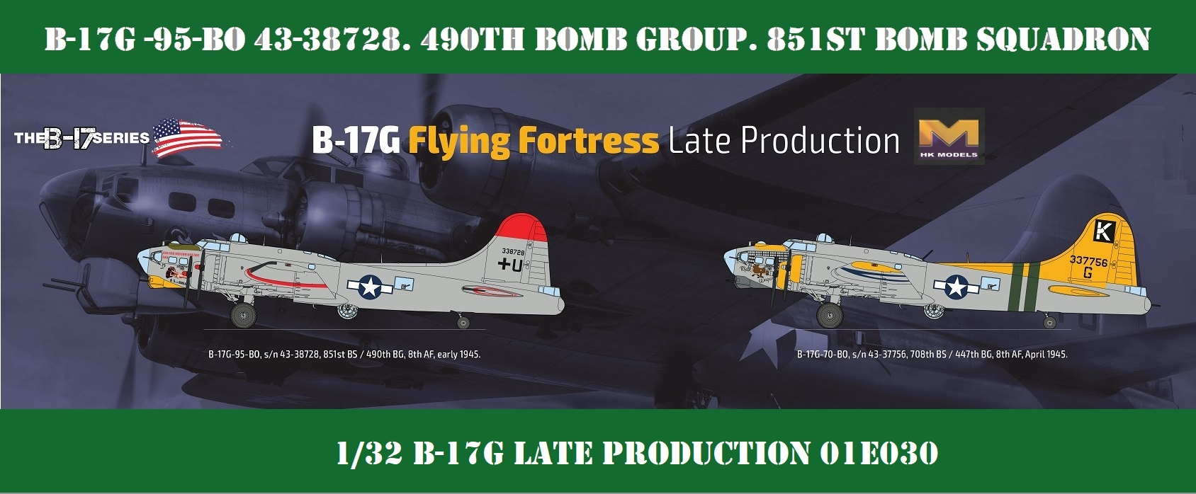 Kuvahaun tulos haulle hong kong model Description  Flying Fortress (Late Production)  The Boeing B-27 'Flying Fortress' was one of the U.S.A.'s main four-engine heavy bombers, operating alongside the b-24 Liberator, and the later B-29 Superfortress, in all theatres of World War 2. It's a fact that the B-17 almost never saw its place in history and the defeat of Nazi Germany, as the prototype, know as Model 299, crashed due to pilot error during its evaluation in October 1935. Thankfully, the design had shown such promise during the testing phase, in fact, far exceeding the requirements of the original specification, that further prototypes were ordered despite Boeing losing the original contract with the United States Army Air Corps. It was this further evaluation that saw the type enter active service in 1938. The actual name 'Flying Fortress' was coined by a newspaper hack who witnessed a roll-out of the machine, bristling with guns and turrets, and Boeing realised that this was the sort of propaganda they needed, and trademarked the name. After the initial prototypes, serial production of the B-17 began with the B-17B variant, and underwent a major revision with the introduction of the 'E'. This type featured a substantially redesigned tail and fillet that featured throughout subsequent versions, giving the B-17 its iconic profile. An extra 10ft of length was added to the fuselage. Other refinements included the additional of a tail and dorsal turret, and the addition of a Bendix turret to replace the fixed bathtub type that had graced previous versions. This was found to be disappointing, and was eventually replaced with the Sperry ball turret that became a permanent feature of all further marques.  Boeing 'G; incarnation of the Fort, was perhaps the most significant of all types built, and of course, numerous 'F' version modifications were carried over, such as the remotely operated Bendix chin turret that was introduced in the late block series of the 'F'. Dif